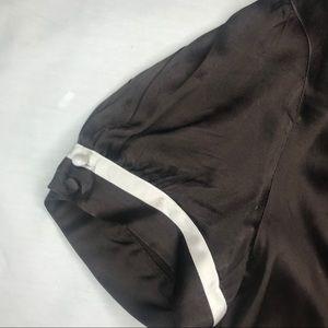 bebe Tops - Bebe Chocolate Brown Silk V-Neck Cap Sleeves